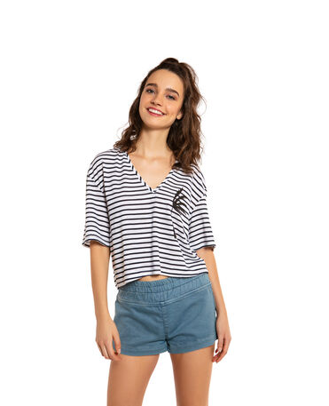 HAVAIANAS T-SHIRT CROPPED V STRIPES COQUEIRO