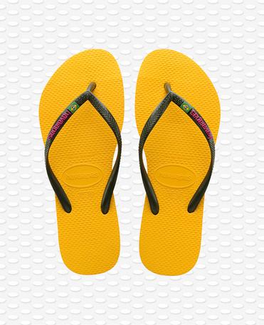 Havaianas Slim Brasil Logo - Chanclas Amarillas Mujer