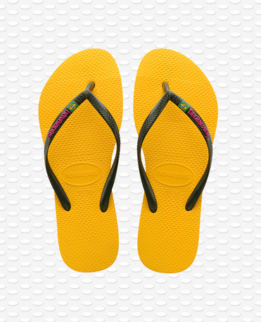 Havaianas Slim Brasil Logo - Yellow Flip flops Women