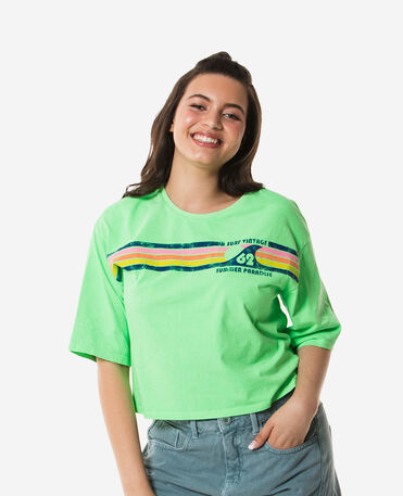 Havaianas T-Shirt Cropped Stripes 62 Vintage - NEON GREEN