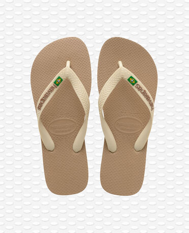 Havaianas Brasil Logo - Tongs - Or rose / beige