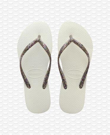Havaianas Slim Logo Metallic - Flip Flops - Weiß / Silber / Silber - Damen