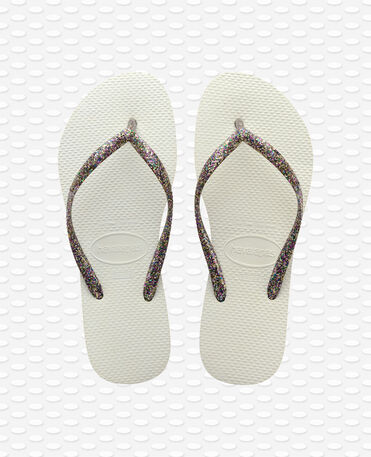 Havaianas Slim Logo Metallic - Tongs - Blanc / Blanc / Argent - Femme