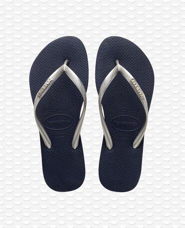 Havaianas Slim Logo Metallic - Chinelos - Marinha / Prata - Mulher