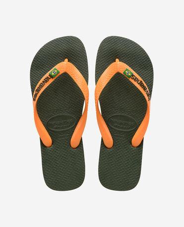 Havaianas Brasil Logo - flip-flops - GREEN OLIVE/VIBRANT ORANGE - unisex