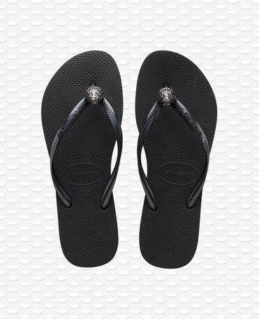 Havaianas Slim Crystal Poem - Black / Metallic Grey - Flip Flops - Women