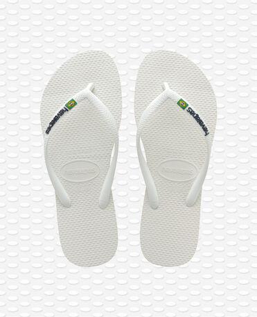 Havaianas Slim Brasil Logo - Chinelos Brancos Mulher