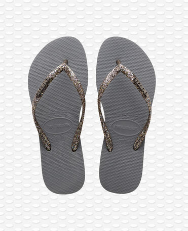 Havaianas Slim Logo Metallic - Steel Grey / Graphite - Flip Flops - Women