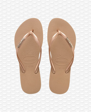 Havaianas Slim Logo Metallic - Chinelos - Ouro Rosa / Ouro Rosa - Mulher