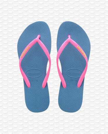Havaianas Slim Logo - Tongs - Bleu - Femme