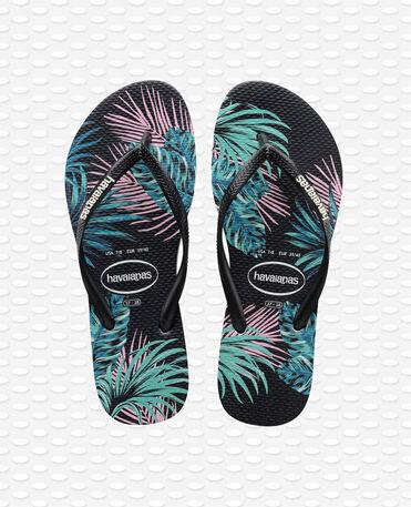 Havaianas Slim Tropical Floral - Black / Black / Daybreak - Flip Flops - Women