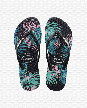 Havaianas Slim Tropical Floral - Flip Flops - Schwarz / Schwarz / Daybreak - Damen