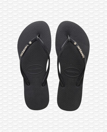 Havaianas Slim Metal Logo and Crystal - Infradito - Nero - Donna