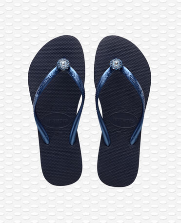 Havaianas Slim Crystal Poem - Navy Blue / Metallic Navy Blue - Flip Flops - Women