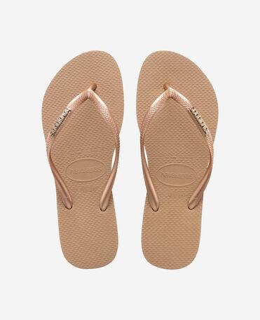 Havaianas Slim Logo Metallic - flip-flops - ROSE GOLD/ROSE GOLD - mujer