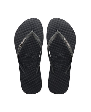 Havaianas Slim Glitter II - flip-flops - BLACK/DARK GREY METALLIC - mujer