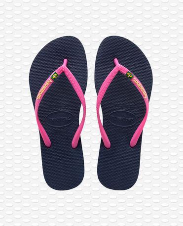 Havaianas Slim Brasil Logo - Navy Blue Flip flops Women