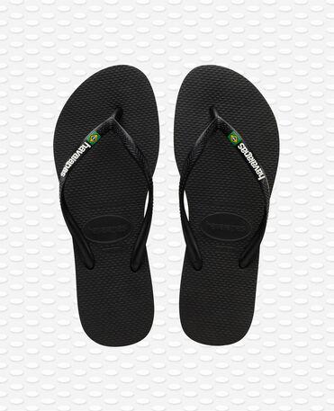 Havaianas Slim Brasil Logo - Black Flip flops Women