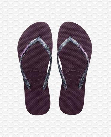 Havaianas Slim Logo Metallic - Flip Flops - Aubergine / Silber - Damen