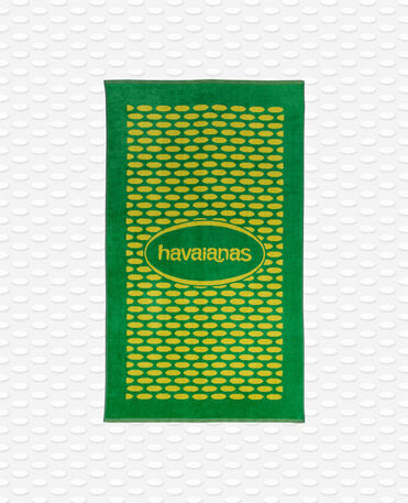 Havaianas Bicolor Velvet Logo Towel - Green/Yellow - Towel