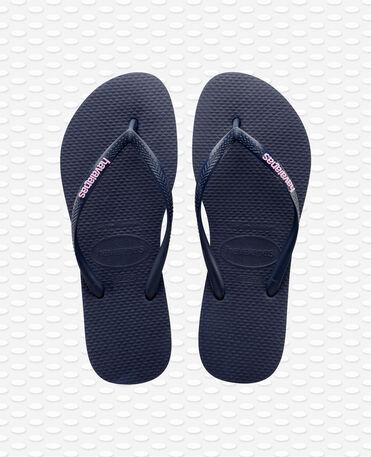 Havaianas Slim Logo - Navy Blue / Navy Blue - Flip Flops - Women