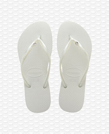 Havaianas Slim Crystal Glamour SW - Chinelos - Branco / Metálico - Mulher