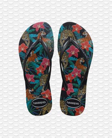 Havaianas Slim Tropical - flip-flops - BLACK/DARK GREY METALLIC - unisex