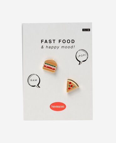 Havaianas Charms Slim Pizza And Burger Yellow - YELLOW - unisex