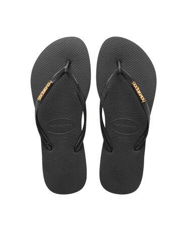 Havaianas Slim Logo Metallic - flip-flops - BLACK/GOLD - female