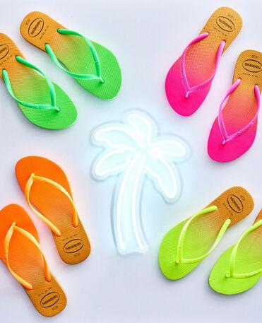 Havaianas Slim Gradient - flip-flops - WHITE/FLUORESCENT PINK FLUX - mujer