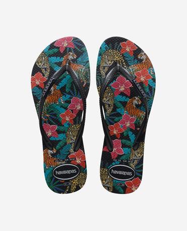 Havaianas Slim Tropical - flip-flops - BLACK/DARK GREY METALLIC - mujer
